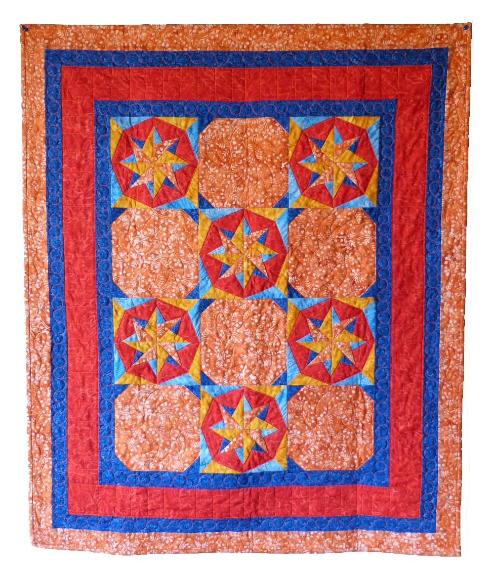 Bl117 Woven Flower Stars Quilt Pattern Pdf Foundation Paper Pieced Beaquilter